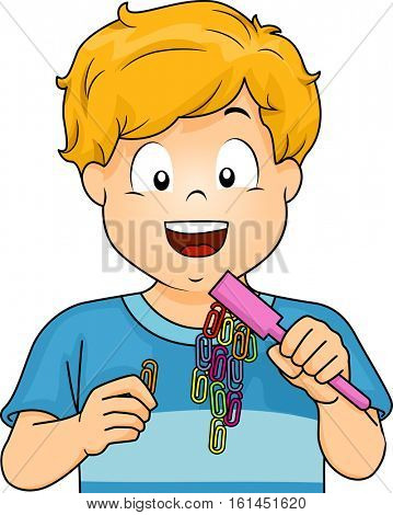 Illustration of a Little Boy Conducting a Science Experiment Using a Magnetic Wand and Some Paper Clips