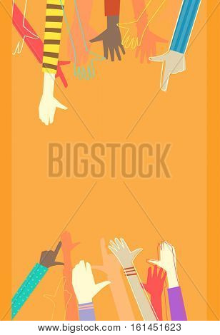 Colorful Background Illustration Featuring the Outstretched Arms of Kids of Different Races