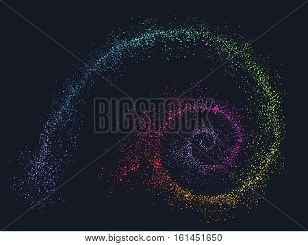 Colorful Illustration of Dust Swirls Demonstrating the Golden Ratio Concept