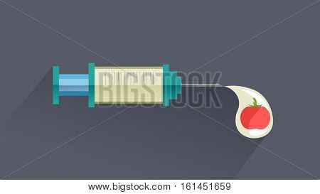 Conceptual Illustration of a Syringe Connected to a Drop of Liquid with a Genetically Modified Tomato Inside