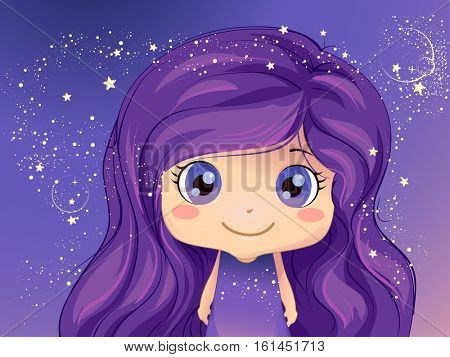 Whimsical Illustration of a Cute Little Girl Standing Against a Purple Background Decorated with Sparkly Stars and Bubbles