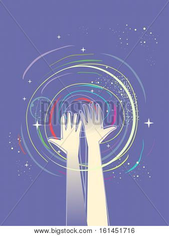 Whimsical Illustration of a Pair of Raised Healing Hands Surrounded by Colorful Glitters and Swirls