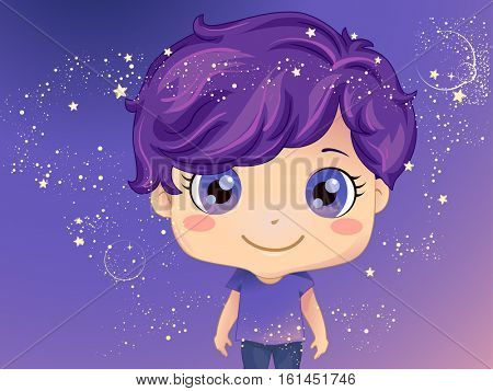 Whimsical Illustration of a Cute Little Boy Standing Against a Purple Background Decorated with Sparkly Stars and Bubbles