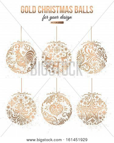 Set of Gold Christmas Balls decoration vector illustration