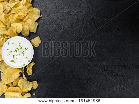 Potato Chips (sour Cream Taste) (selective Focus)