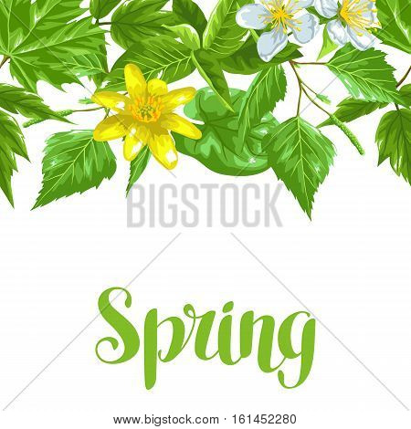 Spring green leaves and flowers. Seamless border with plants, twig, bud.