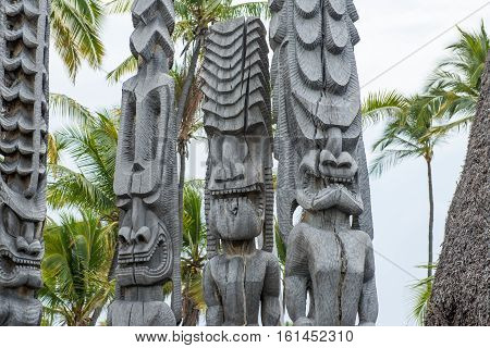Tiki Statue Traditional Statue of Hawaiian, Hawaii USA