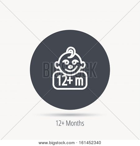 Baby face icon. Newborn child sign. Use of twelve months and plus symbol. Round web button with flat icon. Vector