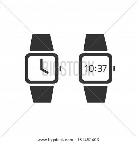 Watch icon vector isolated flat simple style, black and white wristwatches set, digital and automatic hand watch pictogram