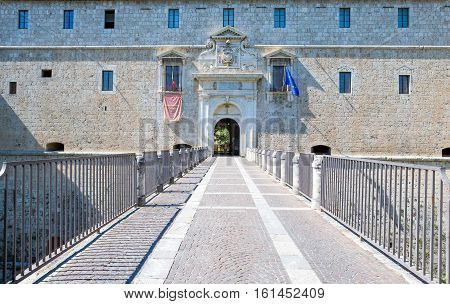 L'Aquila Italy - September 6 2006; The main entrance of the Castle of the XVI century