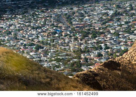 Hill side houses from Diamond Head in Honolulu Hawaii USA