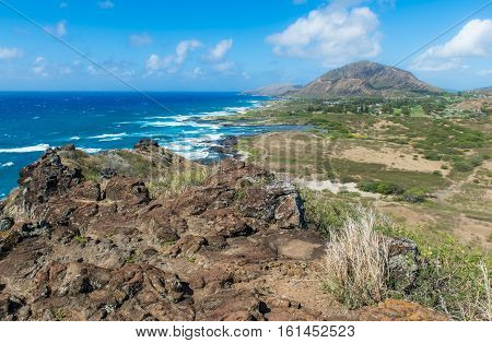 Koko Crater from overlook in Honolulu Hawaii USA