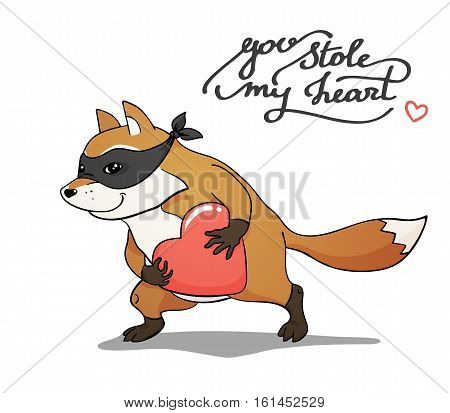 Fat fox pilferer with a stolen heart, color vector hand-drawn illustration, isolated on white background