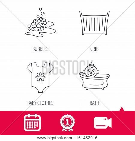 Achievement and video cam signs. Baby clothes, bath and crib icons. Bath bubbles linear sign. Calendar icon. Vector