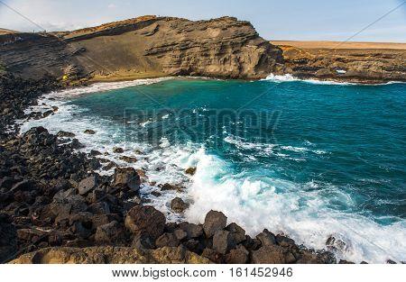 Landscape of Green Sand Beach in Hawaii USA
