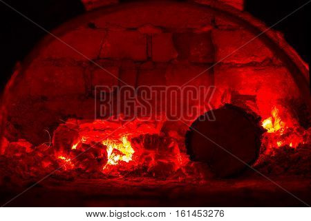 red hot embers in oven