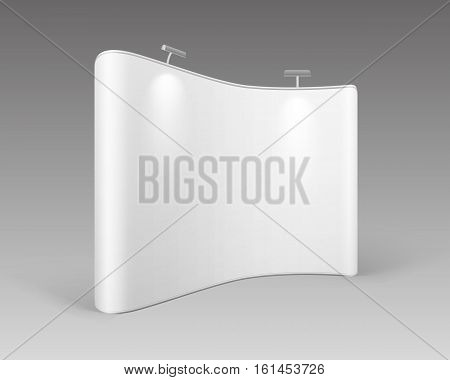 Vector White Blank Trade Exhibition Pop Up Stands for Presentation with Backlights Isolated on White Background