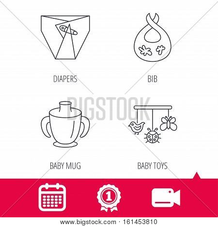 Achievement and video cam signs. Diapers, child mug and baby toys icons. Dirty bib linear sign. Calendar icon. Vector