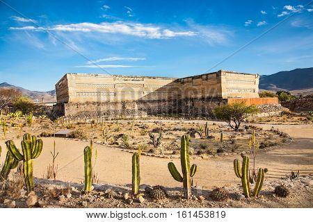 Ruins of the pre-hispanic Zapotec town Mitla, near Puebla, Mexico.