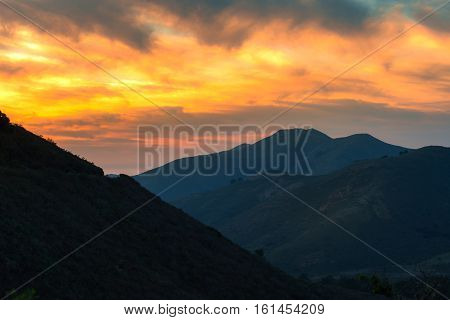 Landscape of beautiful mountain and sunset in San Francisco