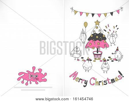 Ready to print Christmas card. Funny birds gathered around the Christmas tree. Trendy colors vector illustration.
