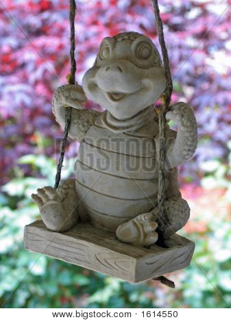 Ceramic Turtle On Swing
