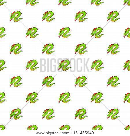 Green chinese dragon pattern. Cartoon illustration of green chinese dragon vector pattern for web