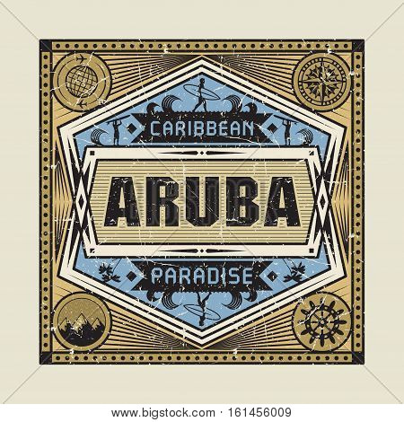 Stamp badge or vintage emblem with text Aruba Caribbean Paradise vector illustration