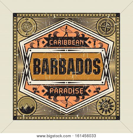 Stamp badge or vintage emblem with text Barbados Caribbean Paradise vector illustration