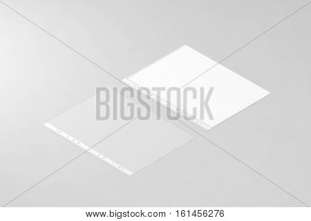 Empty document protector and blank white A4 paper sheet mockup in transparent plastic sleeve isometric 3d rendering.
