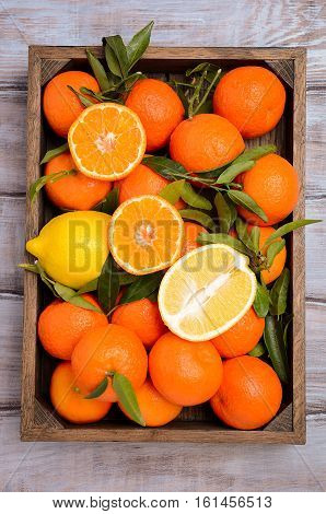 Fresh tangerine clementine and lemons with leaves in wooden tray, top view, vertical.