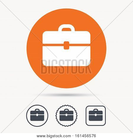 Briefcase icon. Diplomat handbag symbol. Business case sign. Orange circle button with web icon. Star and square design. Vector