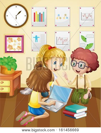 Three kids working in group in classroom illustration