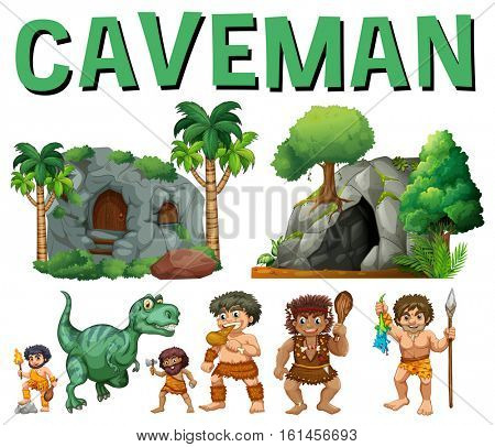 Set of characters and caves for caveman illustration