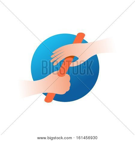 Relay race baton and two hands color illustration. Teamwork run concept logo. Team relay icon.