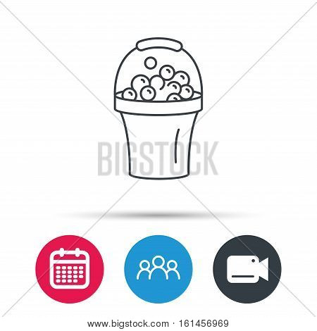 Bucket with foam icon. Soapy cleaning sign. Group of people, video cam and calendar icons. Vector