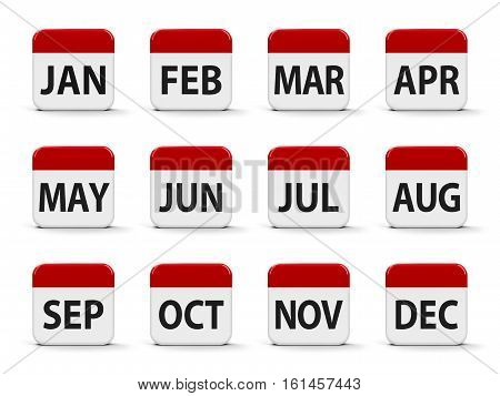 Months calendar web buttons three-dimensional rendering 3D illustration