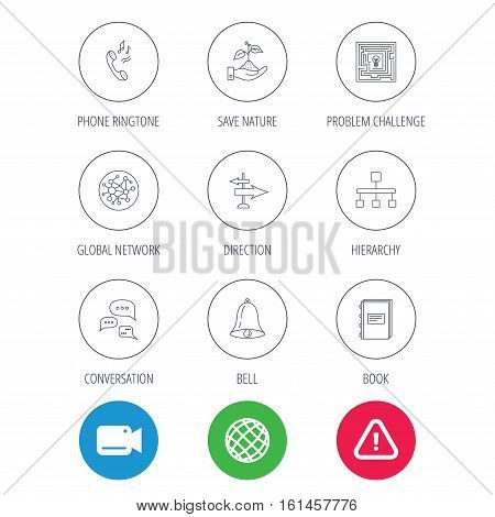 Conversation, global network and direction icons. Save nature, maze and book linear signs. Bell and phone ringtone flat line icons. Video cam, hazard attention and internet globe icons. Vector