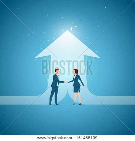 Business concept vector illustration. Cooperation, partnership, business opportunities concept. Elements are layered separately in vector file.