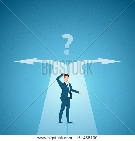 Business concept vector illustration. Choices, career, confused mind concept. Elements are layered separately in vector file.