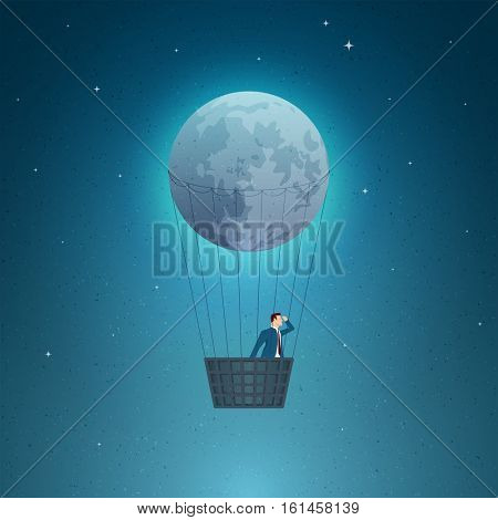 Business concept vector illustration. Discover, vision, business opportunities, seeing future concept. Elements are layered separately in vector file.