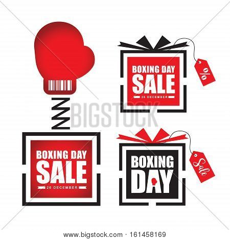 Set of Boxing Day sale symbol icon. Pictographic of boxing glove in gift box & gift box isolated on white. Vector illustration.