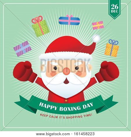 Happy Boxing Day. Cute santa claus wearing boxing gloves with gifts and banner. Vector illustration of boxing day.