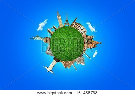 Concept Of Travel. Famous Attractions Of The World. Green Planet