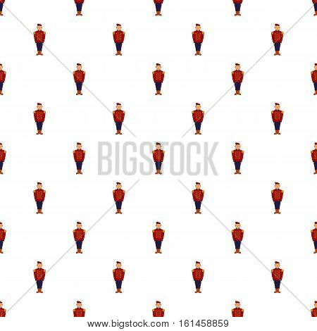 Man in army uniform 19th century pattern. Cartoon illustration of man in army uniform 19th century vector pattern for web