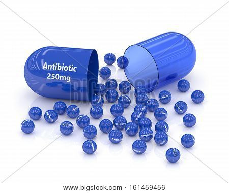 3D Rendering Of Antibiotic Pill With Granules Over White