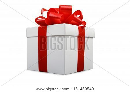 bow and ribbon on white gift box, studio shot, isolated