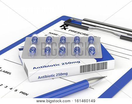 3D Rendering Of Antibiotic Pills In Blister Pack With Prescription