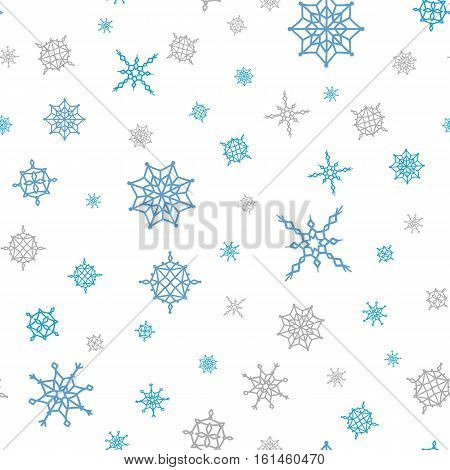 Christmas and winter background with snow. Seamless snowflakes pattern, vector illustration. Great for christmas cards, wrapping paper, party posters. Seamless swatch included.