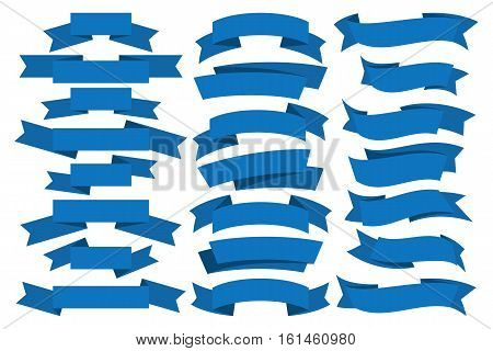 Simple blue ribbon on white background. Vector illustration